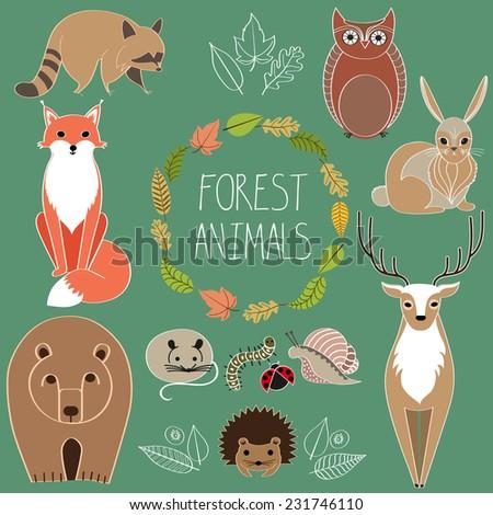 Forest animals. Wild animals. Woodland animals - stock vector