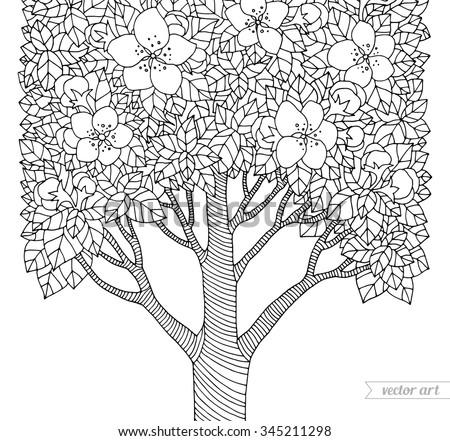 Forest apple flower tree. Vector artwork. Love bohemia concept for invitation, card, ticket, branding, boutique logo, label, emblem. Web mobile interface. Coloring book page for adult. Black, white - stock vector