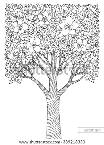 Forest apple tree flowers. Vector artwork. Love bohemia concept for invitation, card, ticket, branding, boutique logo, label, emblem. Web mobile interface. Coloring book page for adult. Black, white - stock vector