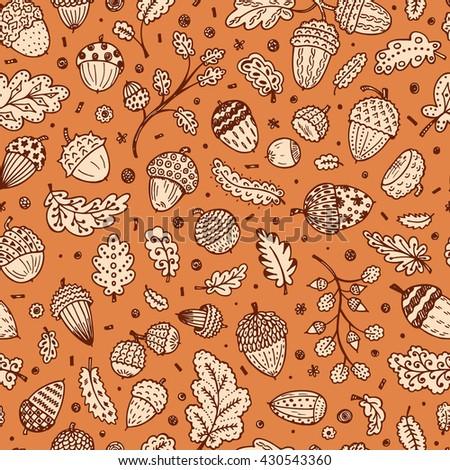 Forest autumn background. Ornamental Acorns and oak leaves vector seamless pattern. Hand drawn doodle acorn, leaf, oak - stock vector