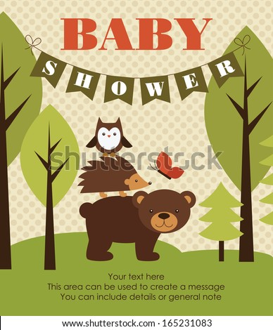 Forest Baby Shower Theme. Vector Illustration