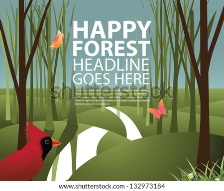 Forest Background. EPS 8 vector, grouped for easy editing. No open shapes or paths. - stock vector