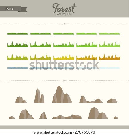 Forest constructor kit - part 2. Grass and stones. Beautiful and trendy set of flat elements. Very useful to create backgrounds and patterns - stock vector