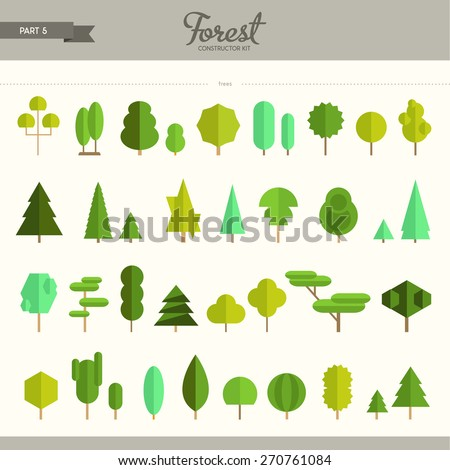 Forest constructor kit - part 5. Really big set of different trees. Beautiful and trendy set of flat elements. Very useful to create backgrounds and patterns - stock vector