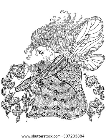 Forest fairy with wings in flower, magic girl for adult anti stress Coloring Page with high details isolated on white background, illustration in zentangle style. Vector monochrome sketch. - stock vector