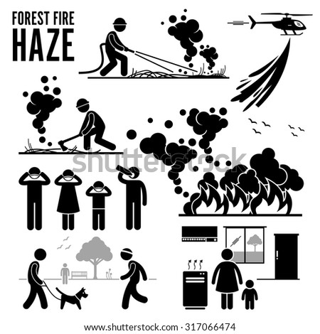 Forest Fire and Haze Problems Pictogram - stock vector