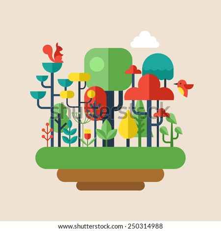 Forest flat modern icons. Environment and ecology concept - stock vector