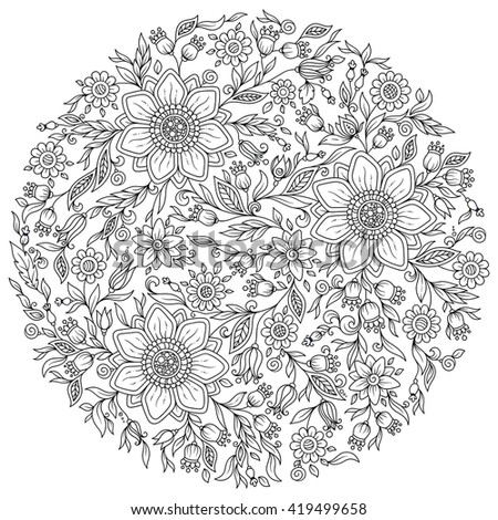 Forest flowers. Vector coloring book pages. Hand drawn artwork. Love bohemian concept for wedding invitations, cards, tickets, congratulations, branding, boutique logo, label. Web and mobile interface - stock vector