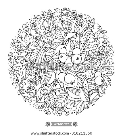 Forest flowers, wild berries and fruits. Vector. Hand drawn artwork. Love bohemia concept for wedding invitation, card ticket branding boutique logo label Black and white Coloring book page for adults - stock vector