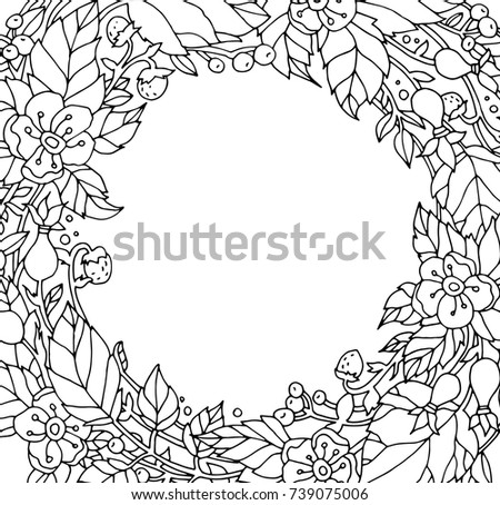 Forest Flowers Wild Berries Fruits Leaves Save The Date Vector Artwork