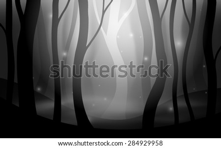 forest fog dark spooky scene editable vector - stock vector