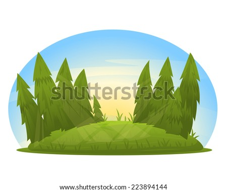 Spruce Tree Cartoon Forest Glade With Spruce Trees