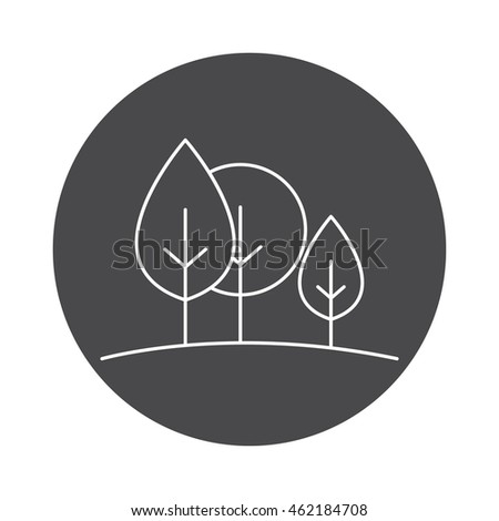 Forest icon outline vector contour isolated on white background