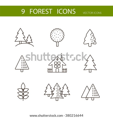 Forest icons set vector. Trees icons