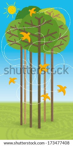 Forest in summer. Some birds fly among the trees, in the sky the sun shines: it's summer. EPS10 Illustration (file with transparencies and global colors).