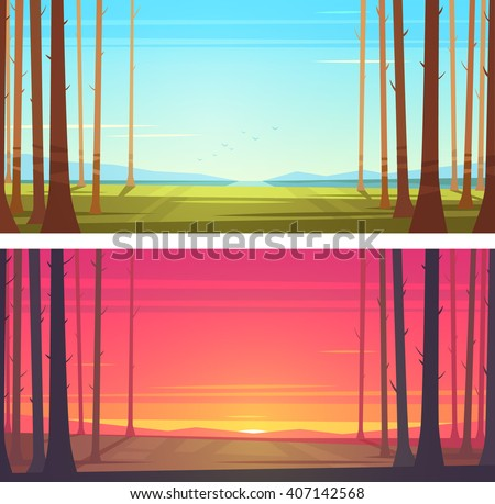 Forest landscape. Vector illustration. - stock vector