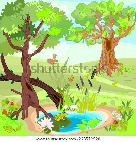Forest landscape with a frog and rabbit - stock vector