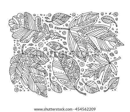 Forest Leaves Pattern Maple Oak Linden Vector Hand Drawn Artwork