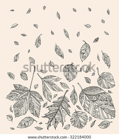 Forest leaves. Vector. Hand drawn artwork. Set collection. Bohemia concept for wedding invitations, cards, tickets, branding, logo, label. Web and mobile interface template. Black and white, beige - stock vector