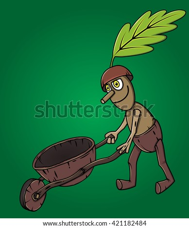 forest man oak leaf pushing wooden handcart - stock vector
