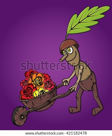forest oak man wooden handcart full of flowers autumn season design - stock vector