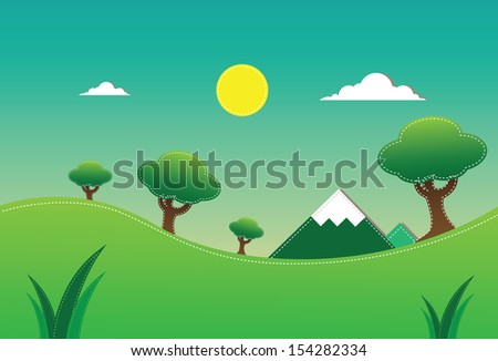 forest Paper pop up - stock vector