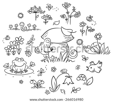 Forest Plants Drawings Forest Plants And Animals Set