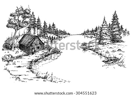 how to draw a river bank