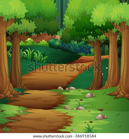 Forest scene with dirt road in the middle illustration - stock vector