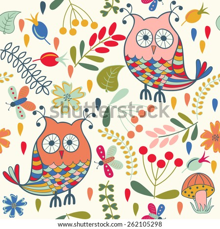 Forest seamless pattern. Floral background. Owl, butterfly, flower, leaf.Use it as pattern fills, web page background, surface textures, fabric or paper, backdrop design. Summer template. - stock vector