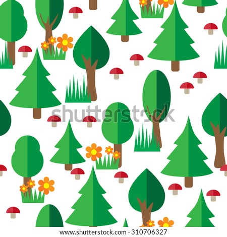 Forest seamless pattern in flat style. Vector illustrations.