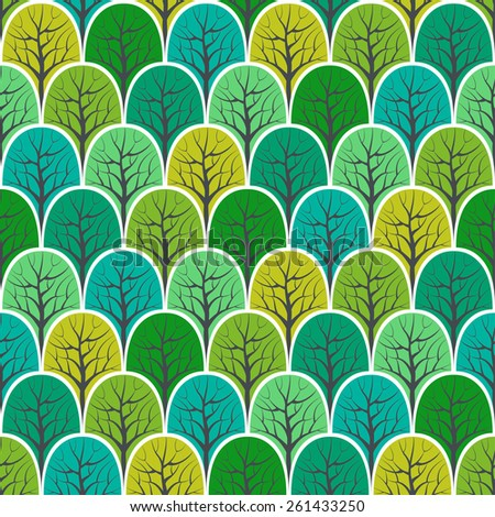 Forest seamless pattern. Vector design background. - stock vector