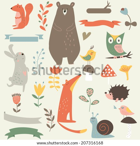 Forest set with cute animals, mushrooms, birds, flowers and ribbons in cartoon style
