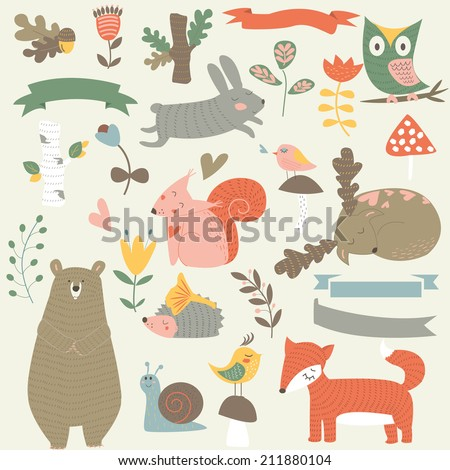 Forest set with north forest animals, flowers, mushrooms, ribbons and hearts in cartoon style