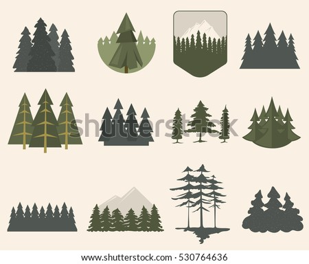 forest tree logo badge vector green stock vector royalty free