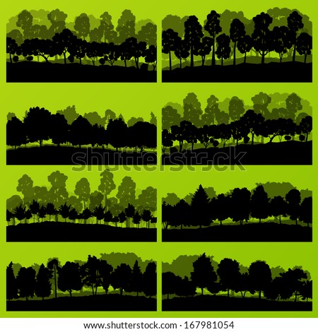 Forest trees and bushes wild nature silhouettes landscape illustration collection background vector - stock vector