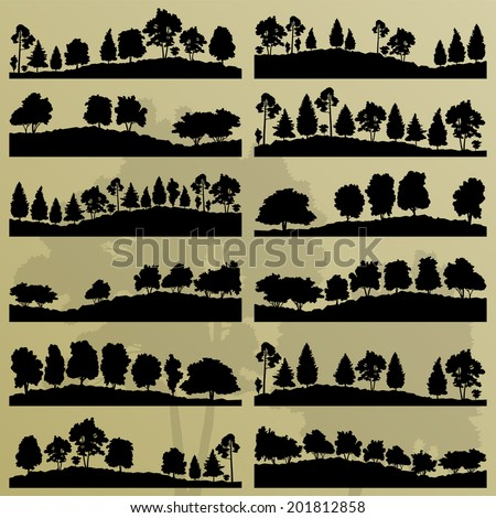 Forest trees silhouettes illustration collection background vector - stock vector