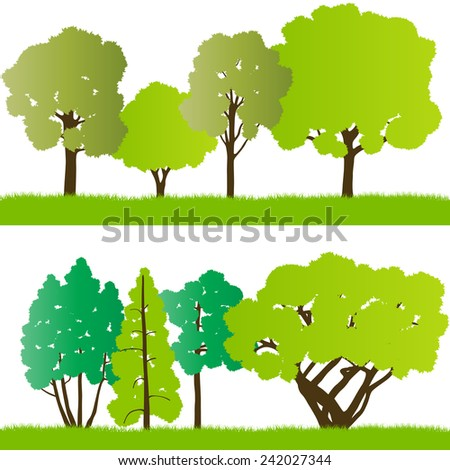 Forest trees silhouettes landscape illustration background vector