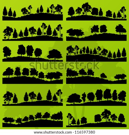 Forest trees silhouettes landscape illustration collection background vector - stock vector