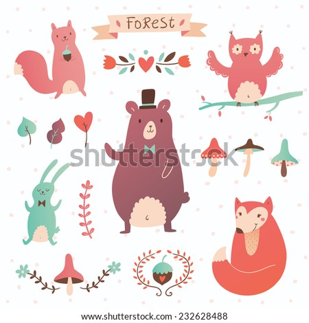 Forest vector set. Illustration of forest animals and plants