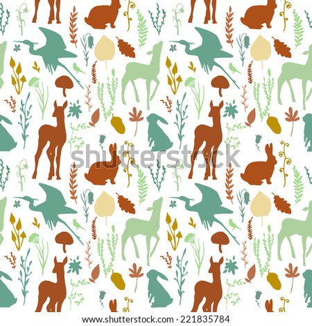 Forest wildlife seamless pattern. White background with deer, birds, plants and mushrooms. Vintage hand drawn texture. - stock vector