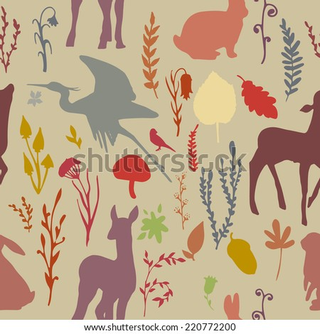 Forest wildlife seamless pattern with deer, birds, plants and mushrooms. Vintage hand drawn texture. - stock vector