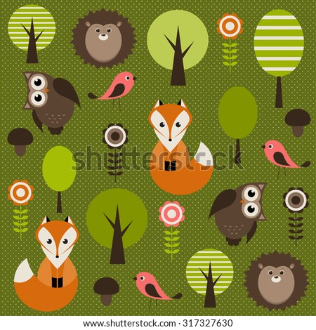 Forest with animals - stock vector