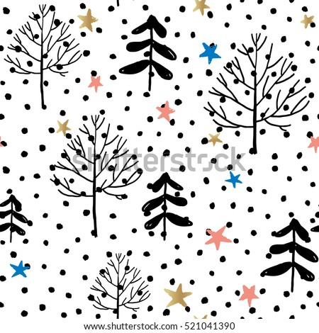 Forest with snow and stars on the white background. Vector seamless pattern. Christmas nature illustration. Winter holidays.