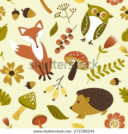 forest, woodland animals,leaves and flowers seamless pattern - stock vector