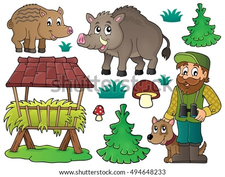 Forester and wildlife theme set 1 - eps10 vector illustration.