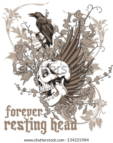 Forever resting head - stock vector