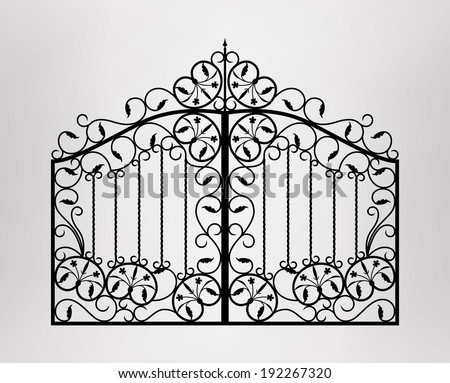 Forged gate. Architecture detail. Vector EPS10. - stock vector