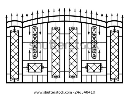 Forged gate isolated on white background. Architecture detail. Vector EPS10. - stock vector