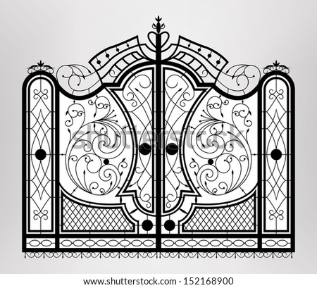 Forged gate. Vector EPS10. - stock vector